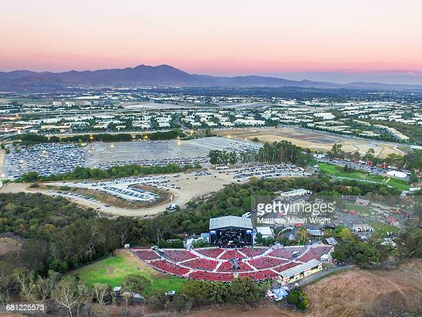 Aerial views over the historic Irvine Meadows.