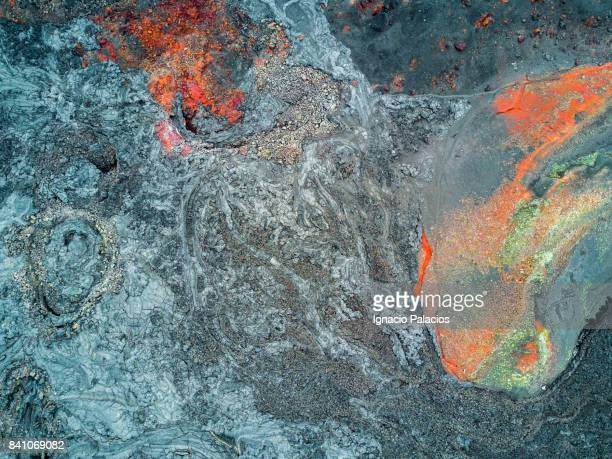 Aerial views volcanic craters around Tolbachik volcanic complex, Kamchatka