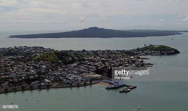 Aerial ViewThe suburb of Devonport with North Head and Mt Victoria with Rangitoto Island in the distance