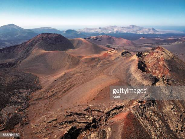 Aerial volcanic landscape in Timanfaya National Park, Lanzarote, Canary Islands