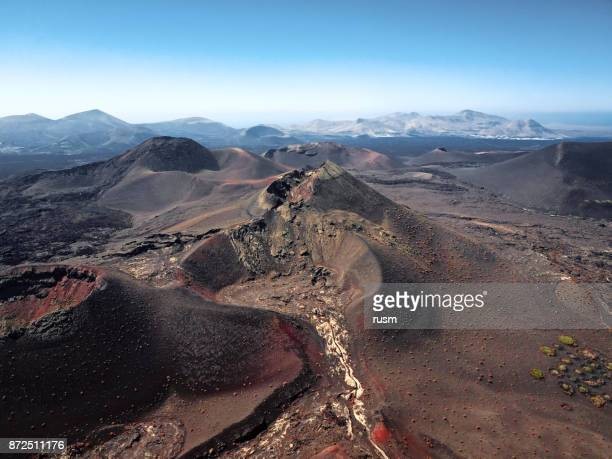 Aerial volcanic landscape, Timanfaya National Park, Lanzarote, Canary Islands