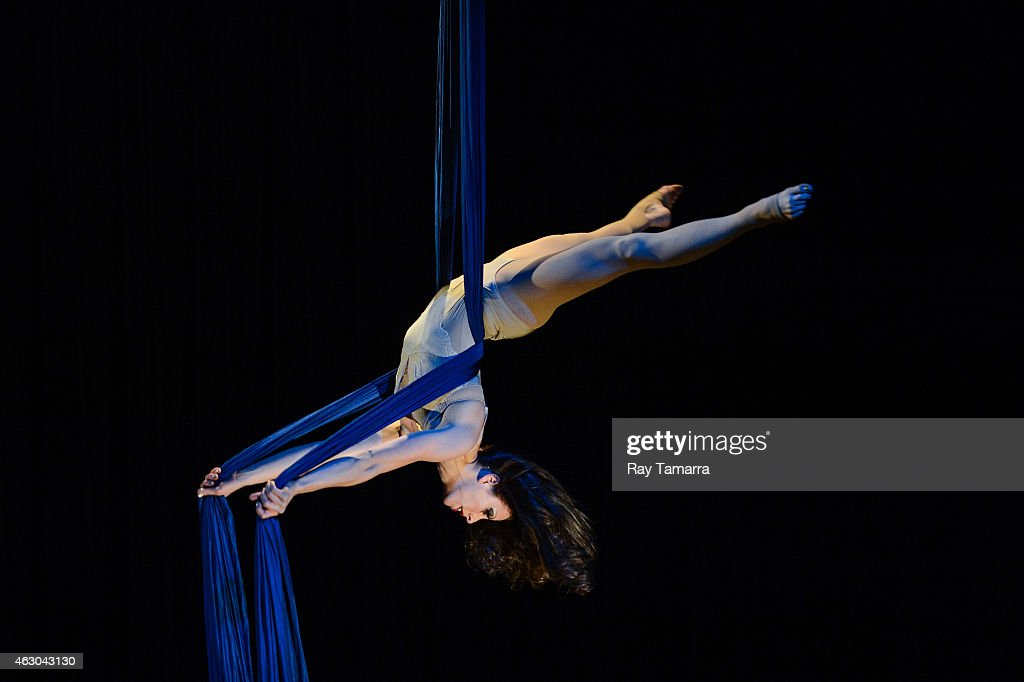 Aerialist Brenna Bradbury performs on the Silks at the 2015 US Aerial Championship at Rose Nagelberg Theater on February 8 2015 in New York City