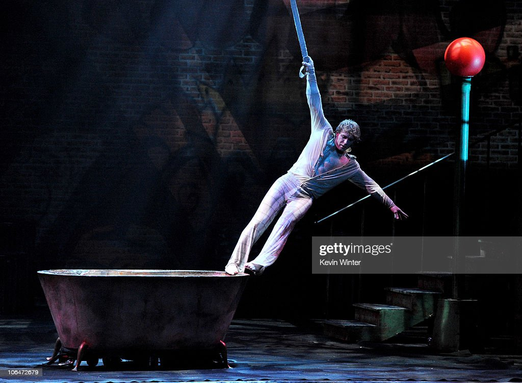Aerialist Jean Chiasson performs onstage on the opening night of 'Cirque Dreams Illumination' at the Thousand Oaks Civic Arts Plaza on November 2...