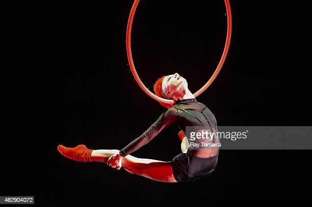 Aerialist Rebekah Burke performs on the Lyra at the 2015 US Aerial Championship at Rose Nagelberg Theater on February 6 2015 in New York City