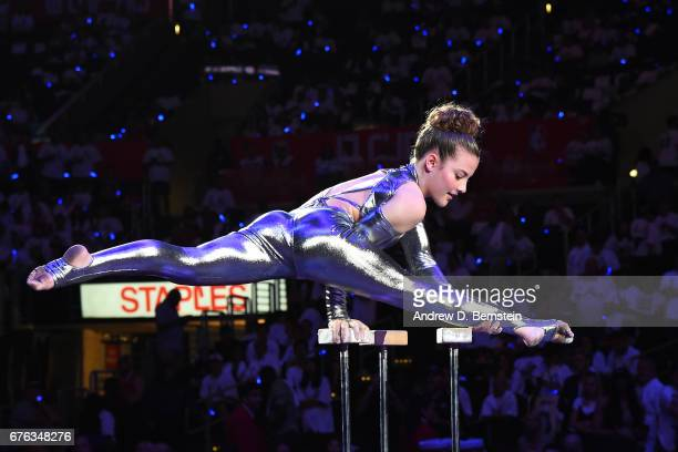 Aerialist Sofie Dossi performs during Game Seven of the Western Conference Quarterfinals between the Utah Jazz and the LA Clippers during the 2017...