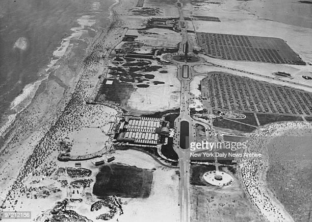 Aerials of crowds at Jones Beach