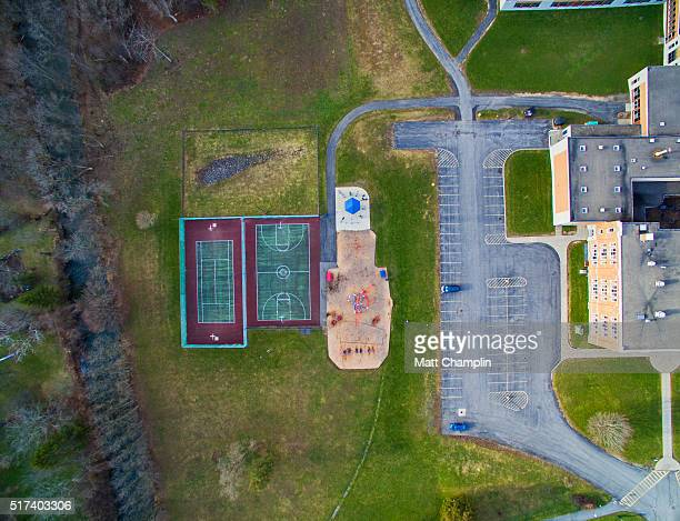 Aerials of quaint village of Jordan, New York
