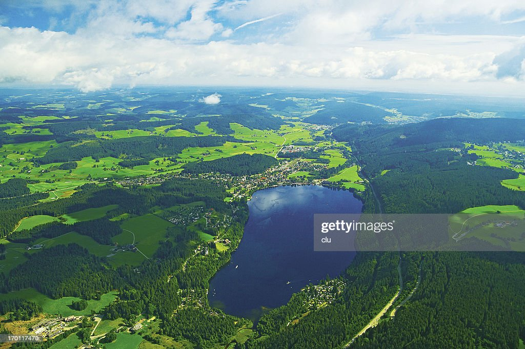 Aerical view of black forest landscape