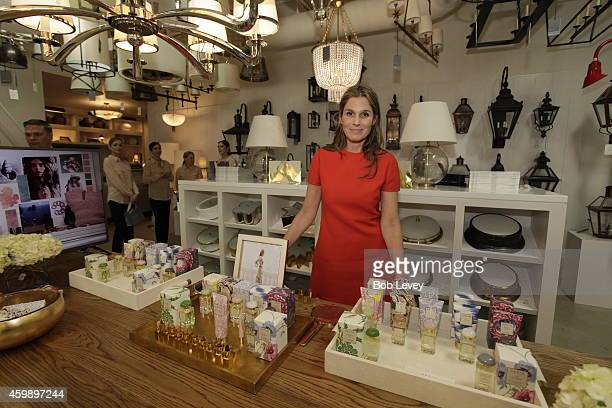 Aerin Lauder Founder and Creative Director of AERIN stands in front of a display of her products as she visits Circa Lighting Showroom on December 3...