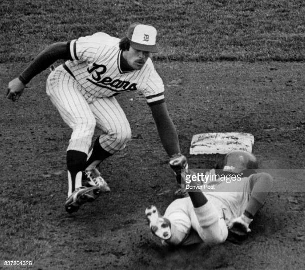 Aero HeadFirst slide is no Match For Bobby Ramo's Throw Bear shortstop Pete Mackanin puts tag on Wichita's Al Javier out trying to steal second base...