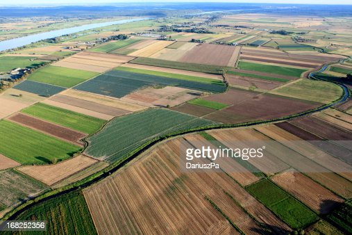 Aero view of massive farmland with various types of plants