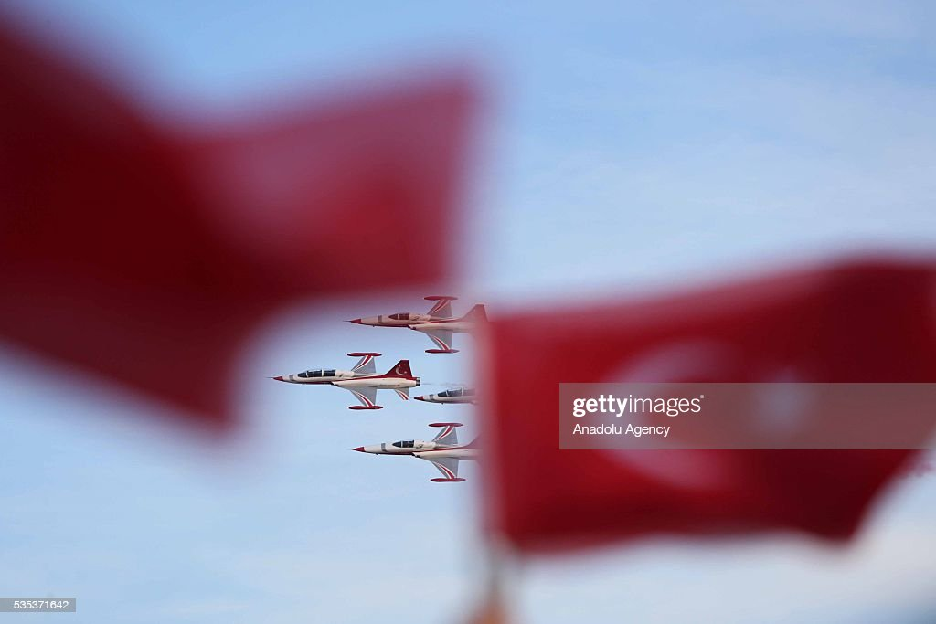 Aerobatic demonstration team of the Turkish Air Force, 'Turkish Stars' perform an air show during the celebrations of the 563rd anniversary of Istanbuls conquest by Turks at Yenikapi Event Area in Istanbul, Turkey on May 29, 2016. On May 29, 1453, Ottoman Sultan Mehmed II (Mehmet the Conqueror) conquered Istanbul, then called Constantinople, from where the Byzantines had ruled the Eastern Roman Empire for more than 1,000 years. The conquest transformed the city, once the heart of the Byzantine realm, into the capital of the new Ottoman Empire.