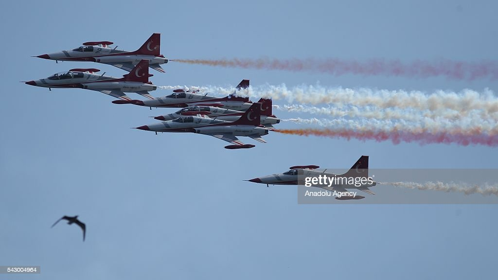 Aerobatic demonstration team of the Turkish Air Force, 'Turkish Stars' perform an air show during the celebrations of the 95th anniversary of Kocaelis liberation from enemy occupation at Cengiz Topel Airport in Kocaeli, Turkey on June 25, 2016.