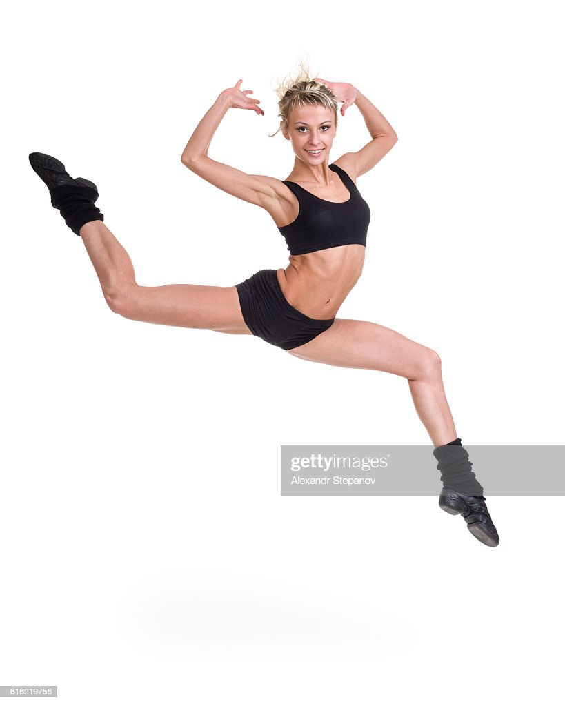 Aerobics fitness woman jumping isolated in full body. : Stock Photo