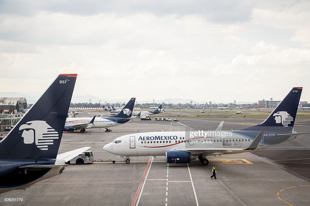 Aeromexico airplanes at Aeropuerto Internacional Benito Ju��rez in Mexico City September 20 2015
