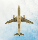 Aeroplane flying, view from below