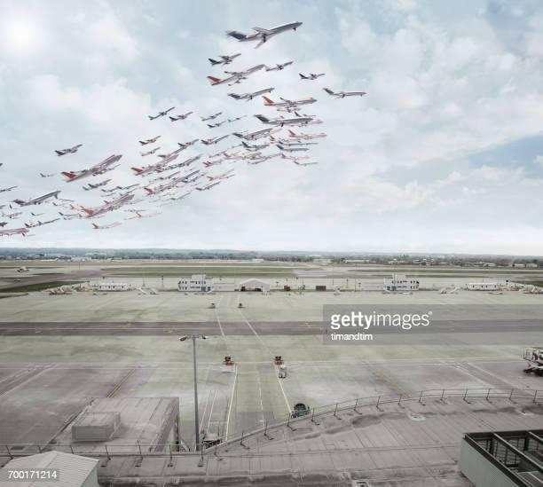 Aeroplanes taking off