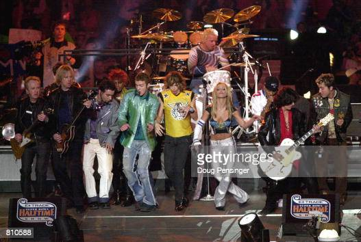 ''NSYNC Aerosmith and Britney Spears all perform during the halftime show for Super Bowl XXXV January 28 2001 at the Raymond James Stadium in Tampa FL
