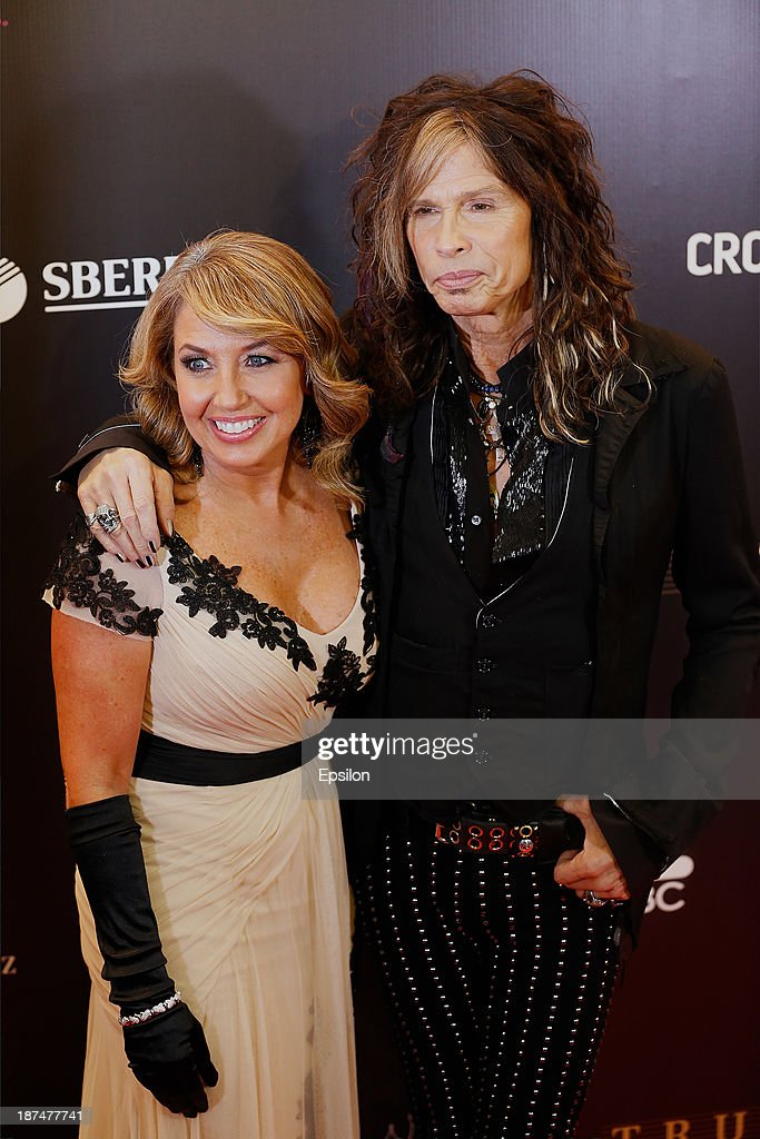 Aerosmith frontman Steven Tylor (R) poses with Paula Shugart, the president of the Miss Universe Organization attend final of the competition Miss Universe 2013 in Crocus City Hall in Moscow on November 9, 2013.