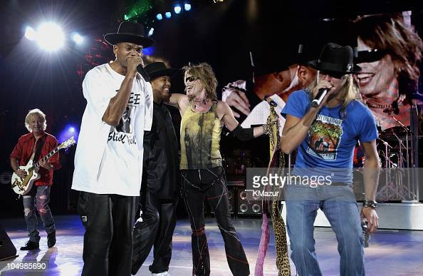 Aerosmith Kid Rock and Run DMC during Aerosmith Kid Rock and Run DMC Tour at PNC Bank Art Center in Holmdel New Jersey United States