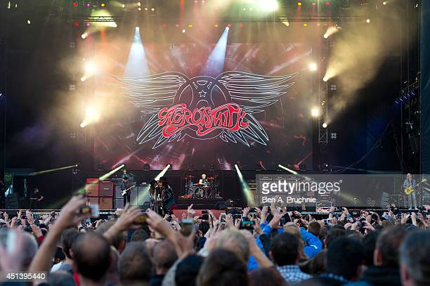 Aerosmith performs on Day 1 of the Calling Festival at Clapham Common on June 28 2014 in London England