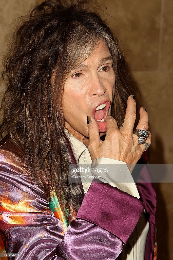 Aerosmith singer <a gi-track='captionPersonalityLinkClicked' href=/galleries/search?phrase=Steven+Tyler&family=editorial&specificpeople=202080 ng-click='$event.stopPropagation()'>Steven Tyler</a> poses during a photo call at Crown Towers on May 3, 2013 in Melbourne, Australia.