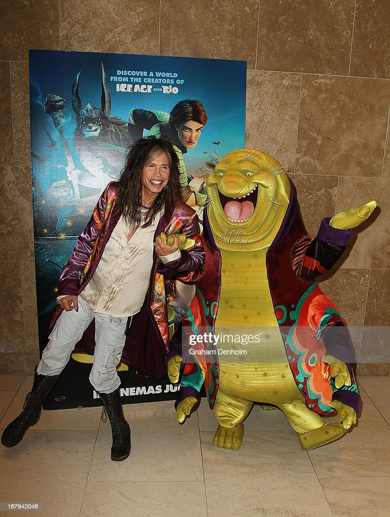 Aerosmith singer Steven Tyler (L) poses with character Nim Galuu during a photo call at Crown Towers on May 3, 2013 in Melbourne, Australia.