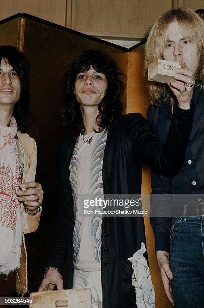 Aerosmith Steven Tyler Joe Perry and Tom Hamilton at welcome party on their visit to Japan Tokyo January 1977
