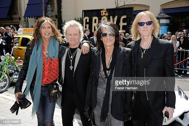 Aerosmith Steven Tyler Joey Kramer and Joe PerryTom Hamilton announce their 'The Global Warming' Tour at The Grove on March 28 2012 in Los Angeles...