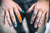 Aerosol paint hands