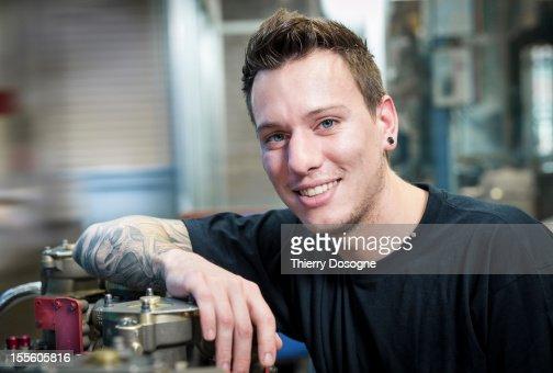 Aerospace technician portrait : Stock Photo