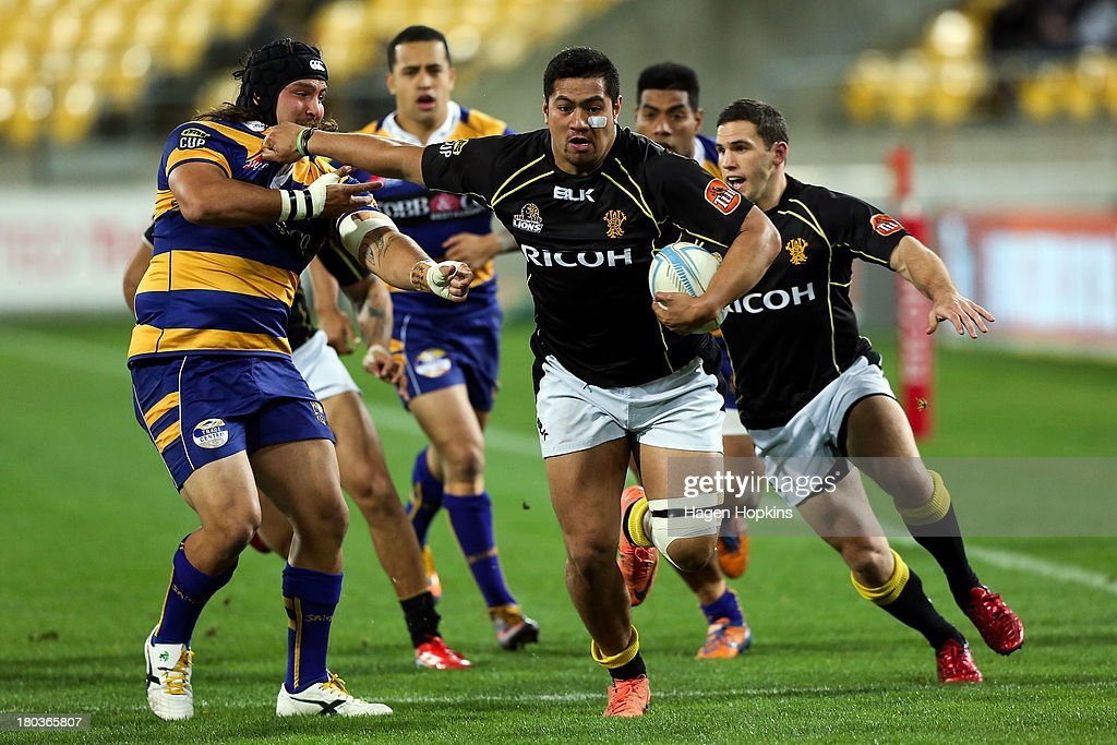Afa Fa'atau of Wellington makes a break during the round 5 ITM Cup match between Wellington and the Bay of Plenty at Westpac Stadium on September 12, 2013 in Wellington, New Zealand.
