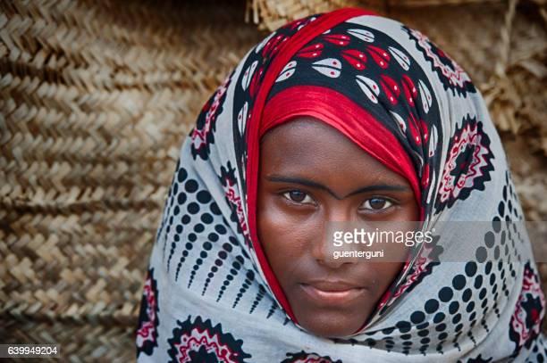 Afar woman in traditional clothing, Danakil Desert, Ethiopia