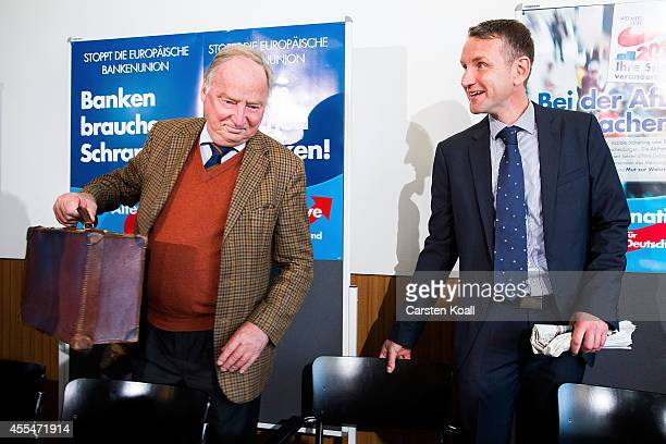 AfD Brandenburg lead candidate Alexander Gauland and AfD Thuringia lead candidate Bjoern Hoecke arrived the day after the AfD finished with strong...