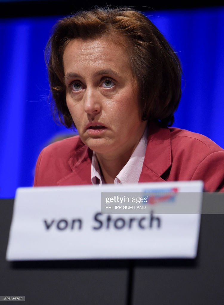 AfD deputy leader Beatrix von Storch attends a party congress of the German right wing party AfD (Alternative fuer Deutschland) at the Stuttgart Congress Centre ICS on April 30, 2016 in Stuttgart, southern Germany. The Alternative for Germany (AfD) party is meeting in the western city of Stuttgart, where it is expected to adopt an anti-Islamic manifesto, emboldened by the rise of European anti-migrant groups like Austria's Freedom Party. / AFP / Philipp GUELLAND