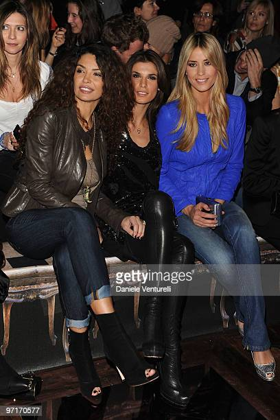 Afef Elisabetta Canalis and Elena Santarelli attend Roberto Cavalli Milan Fashion Week Autumn/Winter 2010 show on February 28 2010 in Milan Italy