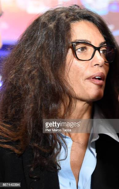 Afef Jnifen wife of Marco Tronchetti Provero CEO of Pirelli attends a ceremony announcing the return of Pirelli to the Milan StockExchange on October...