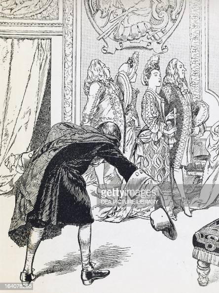 Affair of the Poisons the soothsayer Adam Lecouret known as Le Sage at Hotel de Bouillon engraving by Cheri Herouard taken from Madame de Montespan...