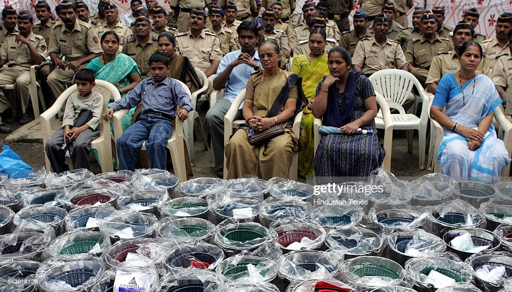 Affected Police Families waits for Police commissioner A.N. Roy to distribute the relief material at Saki Naka Police Station.