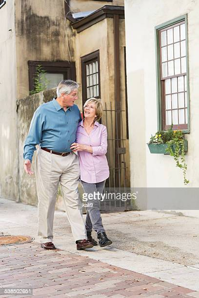Affectionate senior couple taking a stroll
