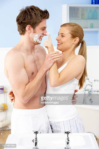 Affectionate Young Couple In Bathroom