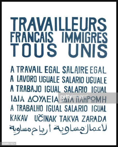 Affiche des manifestations de mai 1968 avec la mention 'travailleurs français immigrés tous unis à travail égal salaire égal' dans plusieurs langues...