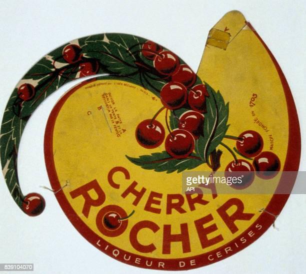 Affiche publicitaire pour la liqueur de cerise 'Cherry Rocher'