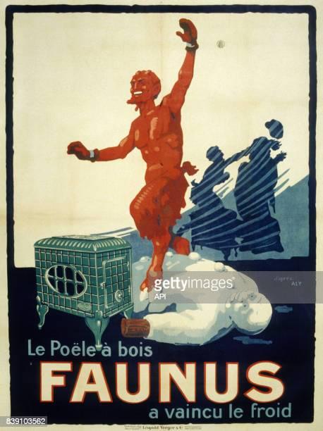 Affiche publicitaire pour les poël à bois 'Faunus'
