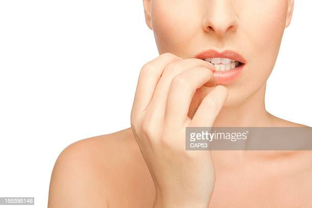Affraid Woman Biting Her Fingernails