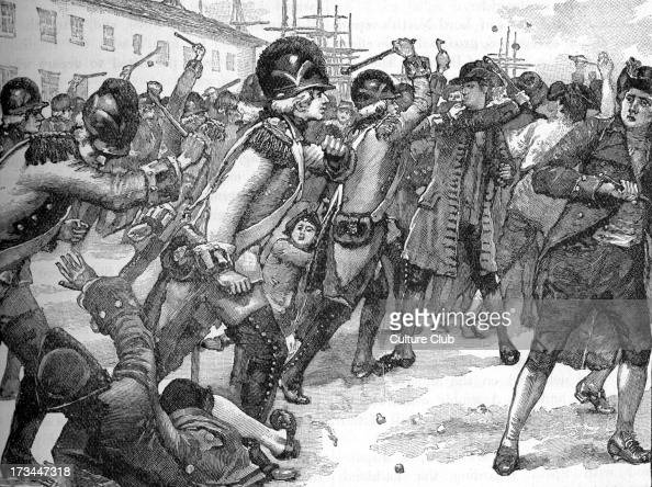 Affray between soldiers and ropemakers Boston America March 1770 Began after a ropemaker insulted a soldier and escalated to fullscale rioting...