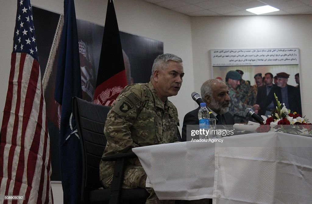 Afghan acting Defense Minister Masoom Stanekzai (R) and Commander of U.S and NATO forces in Afghanistan, General John F. Campbell (L) speak during a press conference at the Afghan Defense ministry in Kabul, Afghanistan, on February 7, 2016.