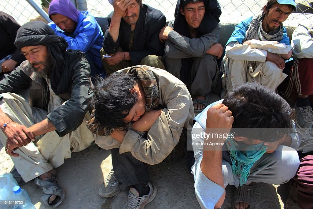 Afghan drug addicts wait to register in Jangalak hospital and shelter for drug addicts in Kabul, Afghanistan, on June 26, 2016. In December 1987 the UN general assembly decided to observe June 26 as the international day against drug abuse and illicit trafficking.