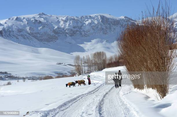 Afghan ethnic Hazara villagers walk as a woman carries some dishes on the outskirts of Bamiyan on March 1 2013 Bamiyan some 200 kilometres northwest...