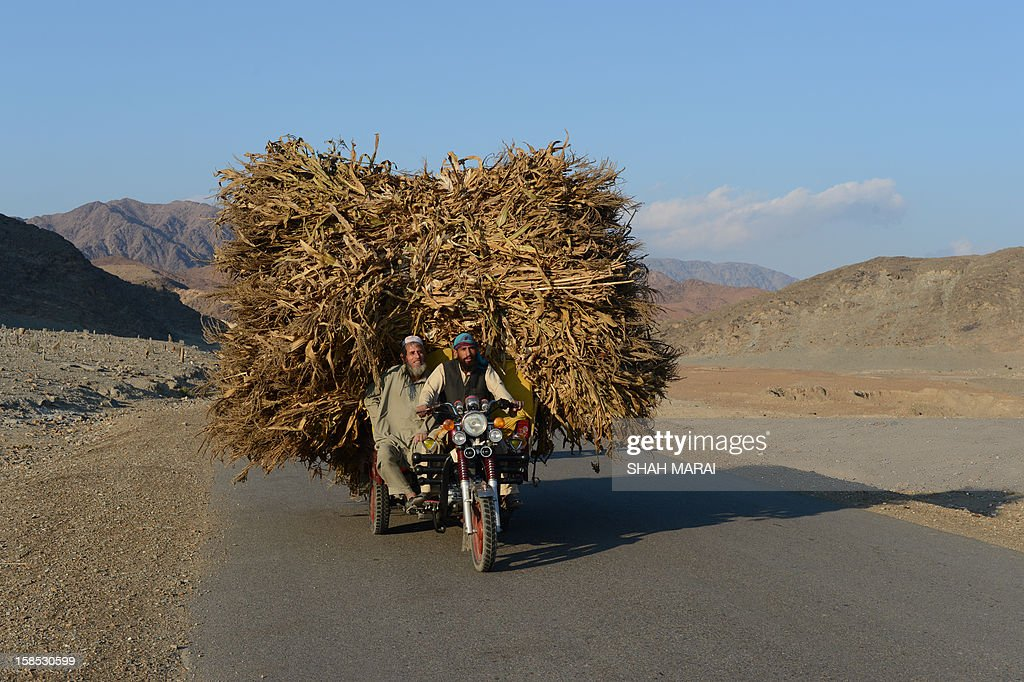 Afghan farmers ride a tuk tuk loaded with corn crops in the Goshti district of Nangarhar province, bordering Pakistan on December 18, 2012. According to a recent Pentagon report, Afghans have 'begun to assume the lead for security' in areas home to roughly 76 percent of the population. Between March and September, the United States decreased its military forces in Afghanistan by 25 percent. There are now about 68,000 US troops in the country. AFP PHOTO/ SHAH Marai